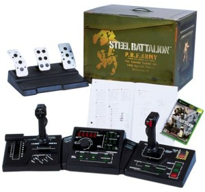 Peripherals for the game Steel Battalion, including joystick, pedals, manual, game box, and big box.