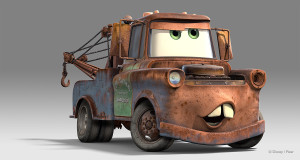 This is Mater. He's trying to figure out how to hang himself with his own tow cable.
