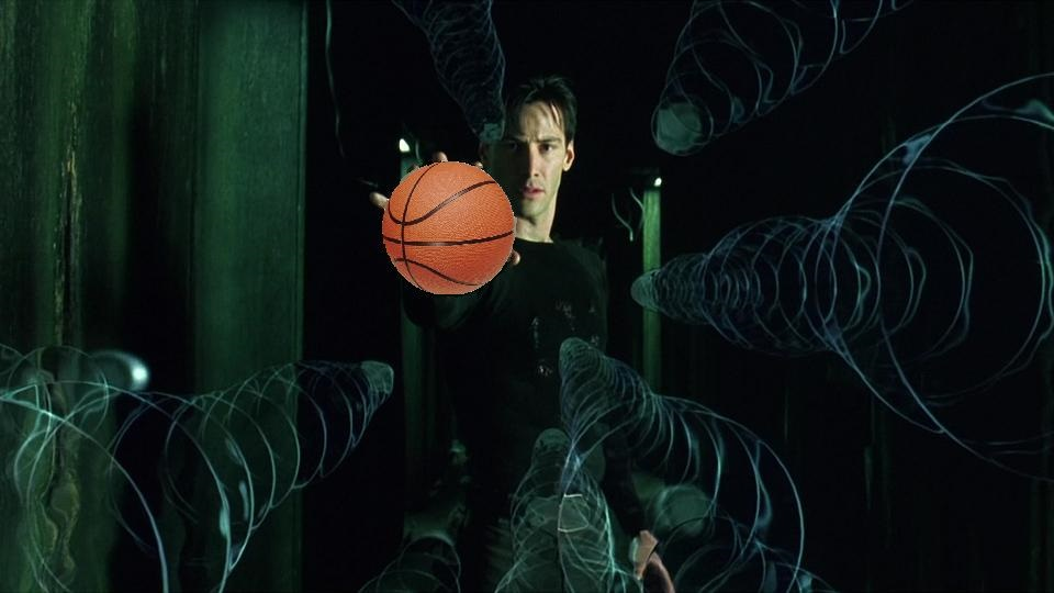 Neo from the Matrix palms a basketball before for some mad hoopz.