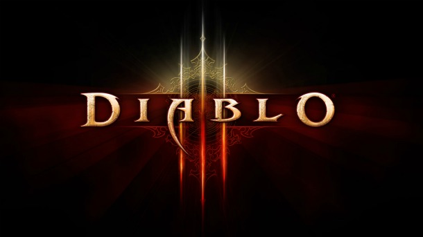 Black, red, and gold logo for Diablo III.