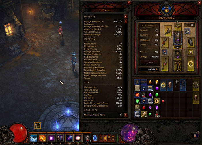 A Diablo III screenshot, showcasing a character's state panel.