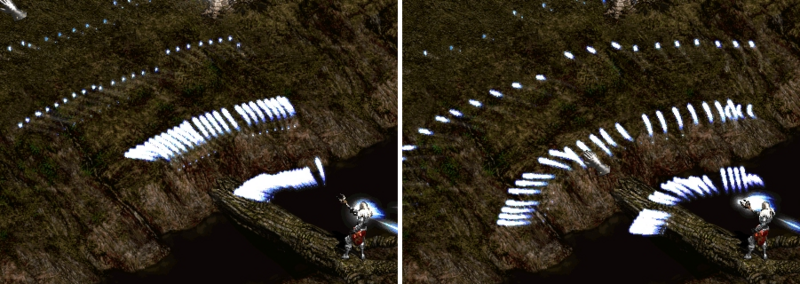 A Diablo II screenshot of a necromancer using the Teeth skill.