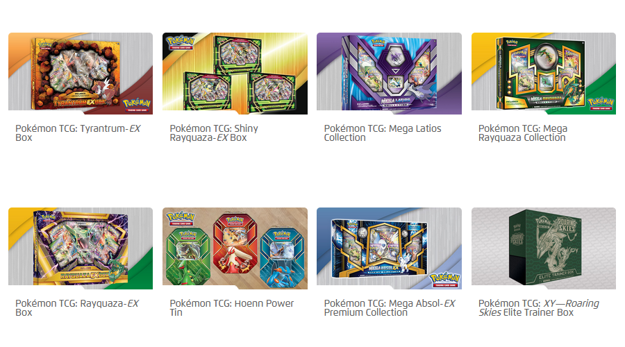 A gallery of Pokémon TCG products.