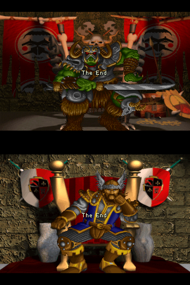 Victory screenshots of Warcraft's orc and human campaigns. The orc image, above, shows a green-skinned creature sitting on a grim throne, a giant sword across its legs. The human screen, below, those a mirror of the orc but on a more regal-looking throne.