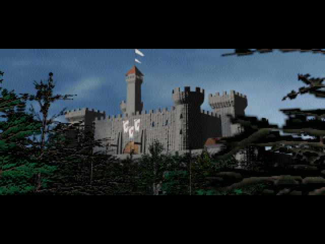 Image from the opening cinematic of Warcraft: Orcs and Humans. A medieval castle looming over a dark forest.