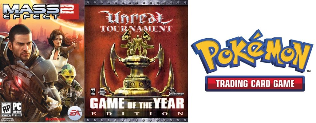 Game box art for World of Warcraft, Mass Effect 2, Unreal Tournament, and Pokemon Trading Card game.
