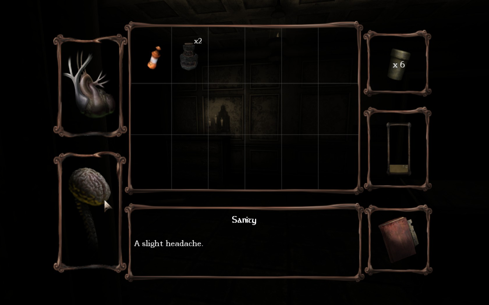 "Amnesia's inventory screen. A window marked ""Sanity"" states that the player has ""A slight headache."""
