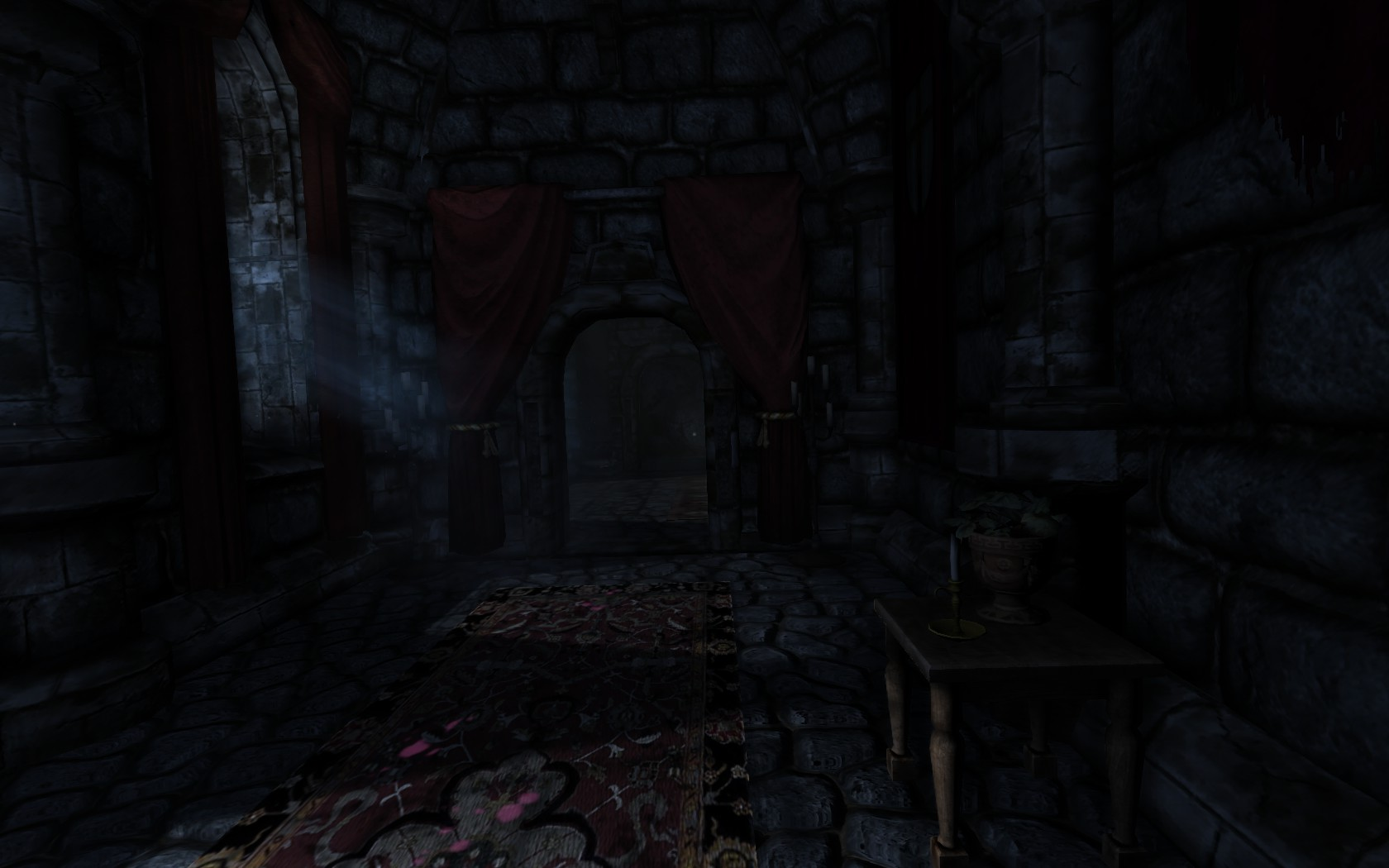 A dark hallway with stone tiles leaning ever so slightly to the left showcases Amnesia: The Dark Descent's unnerving camera angle.