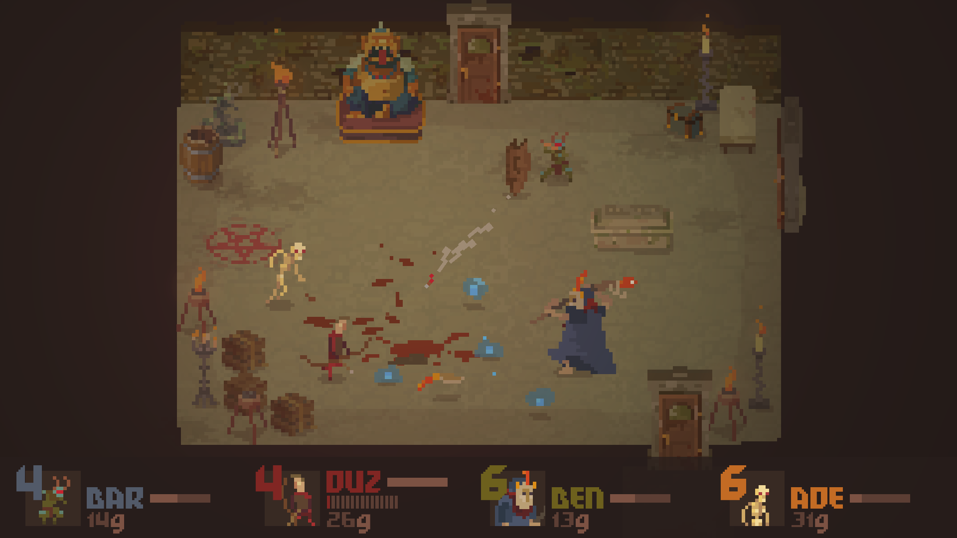 Gameplay from indie brawler, Crawl. Three players control monsters and attack a human player. Blood and bloodsoaked pentagrams litter the ground of a brown dungeon.