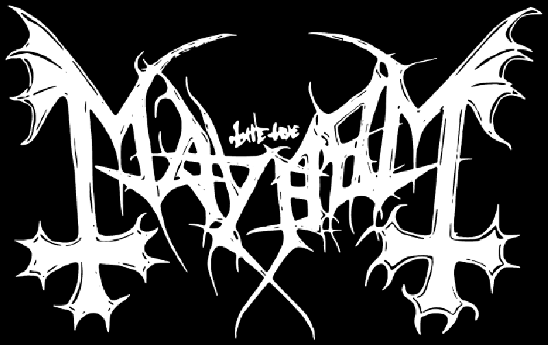 "Mayhem's logo. ""Mayhem"" stylized with the first and last leg of the 'M' drawn as winged, upside-down crosses. The rest of the font is sharp and angular, like bones or barbed wire."