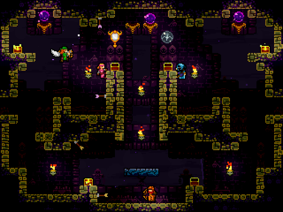 Gameplay from the archer arena indie game, Towerfall. Four archers duel in a symmetrical cave, with torches adding light throughout.