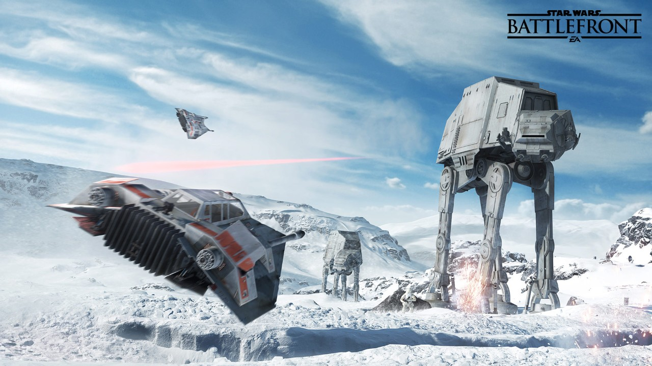A snowspeeder in the foreground heads toward an imperial AT-AT treading across Hoth's snowy landscape. Another AT-AT looms in the distance.