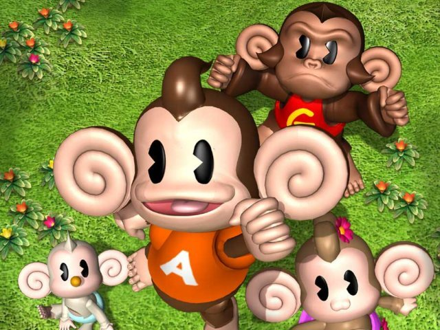 The characters of Super Monkey Ball: Baby, AiAi, MeeMee, and GonGon.