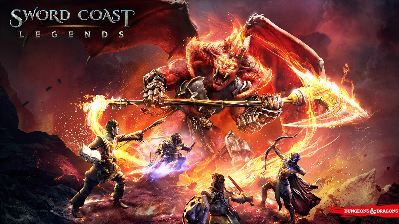 A party of adventurers wielding swords and spells attack a flaming scythe-wielding demon.