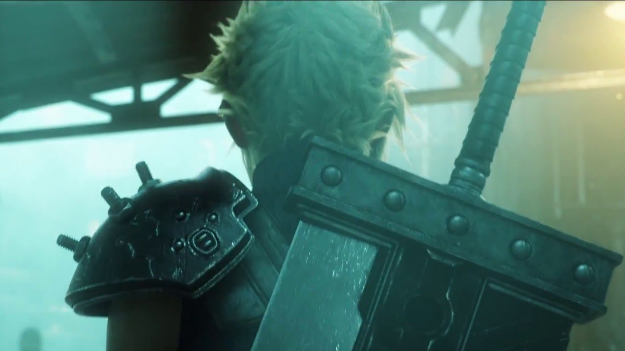 New screenshot of Final Fantasy VII Remake. Spiky blond-haired protagonist Cloud has his back turned, showing off the enormous buster sword strapped to his back while walking through a murky, crowded Midgar market.
