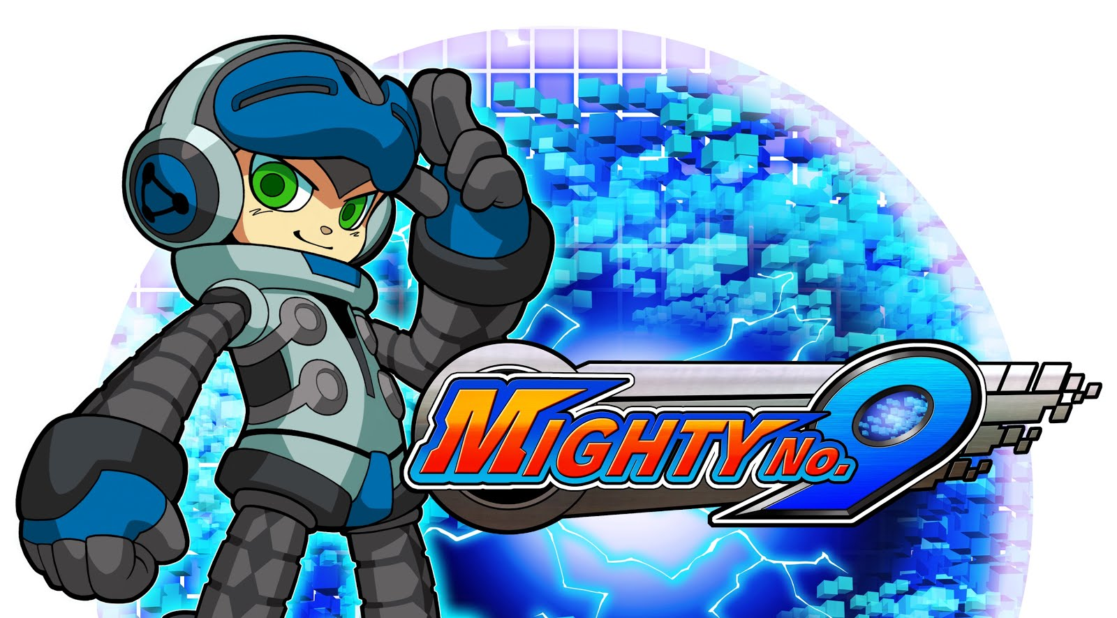 Mighty No. 9's Beck, the blue-armored protagonist, salutes the player.