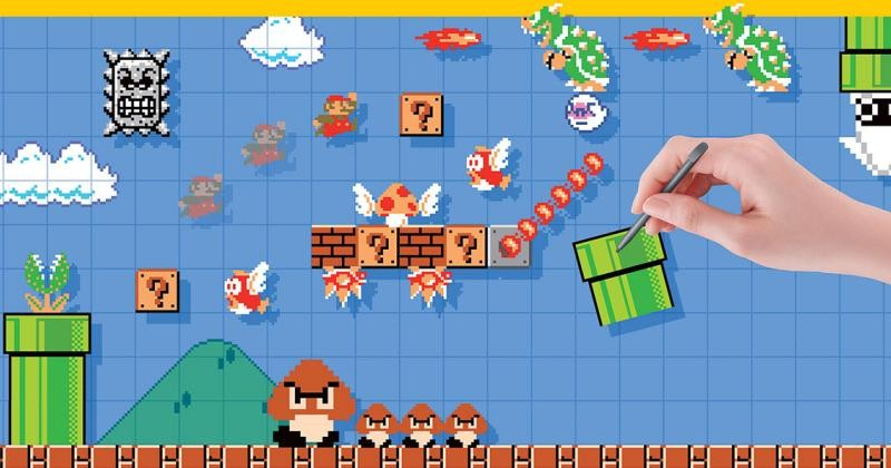 Screenshot of the mayhem of Super Mario Maker: the classic World 1-1 is presented with a giant Goomba trailed by three smaller Goombas; Spinies line the first appearance of Question blocks; a Boo cowers beneath a fire-breathing Bowser.
