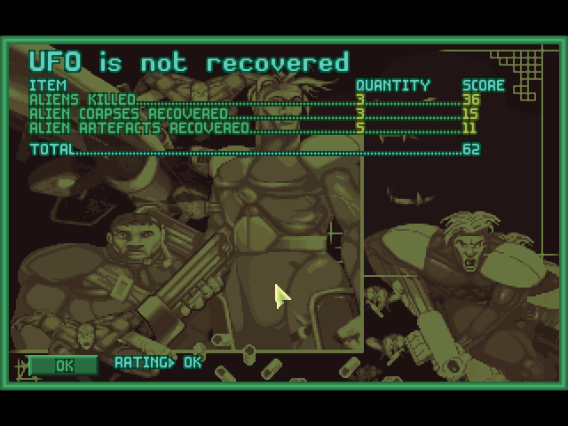 "This screen indicates an ""ok"" mission score, even though no one died and a lot of aliens were killed and stuff recovered"