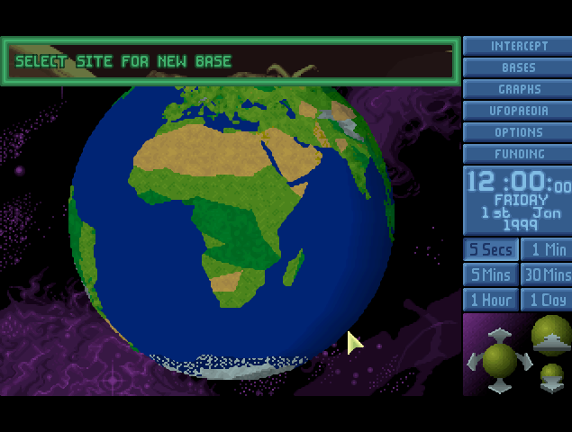 AN obtuse map menu is the first screen you see in X-COM: UFO Defense.