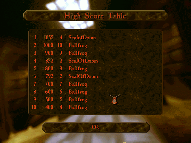 A score is given at the end of each Dungeon Keeper stage, letting you know how good you are at being bad.