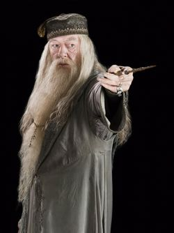 Albus Dumbledore, pointing his wand out.