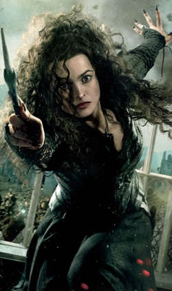 Bellatrix Lestrange, wielding her wand and looking frazzled.