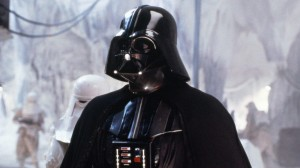 Darth Vader cuts an imposing figure, his black armor contrasting those he commands.
