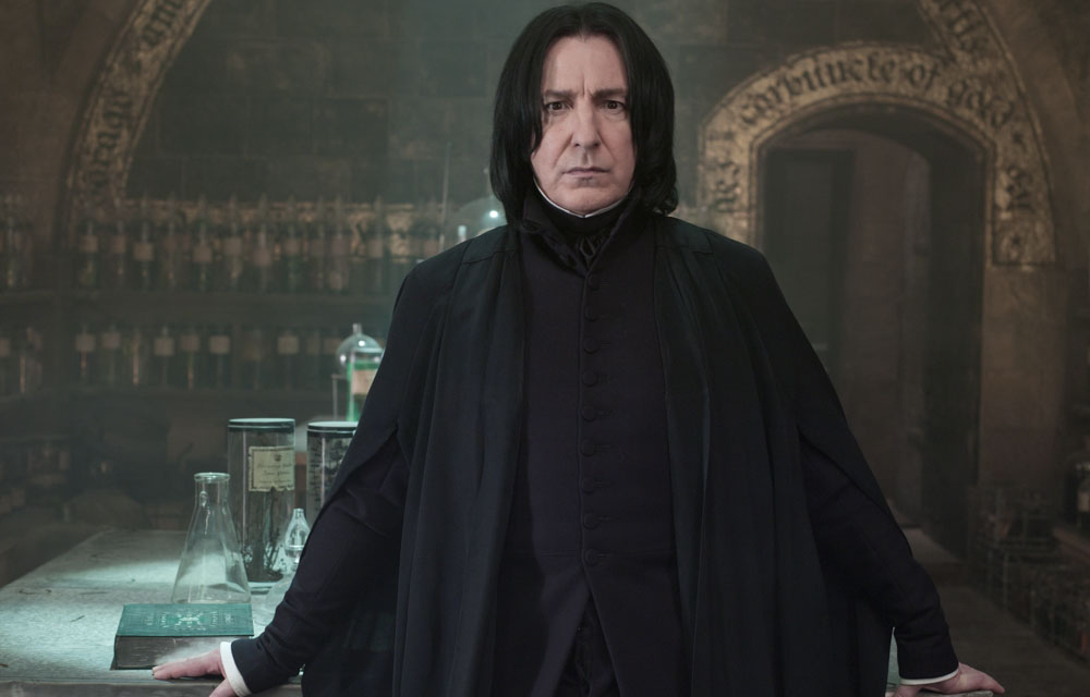 The austere Severus Snape is mysteriously nasty at first, but we learn to sympathize with him.