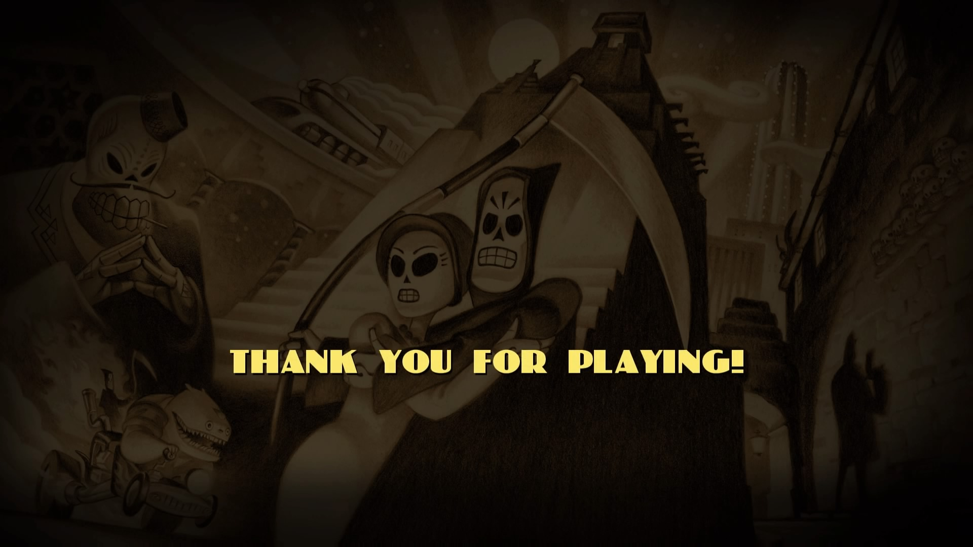 The ending screen of Grim Fandango Remastered felt well-earned after all the puzzle hardship.
