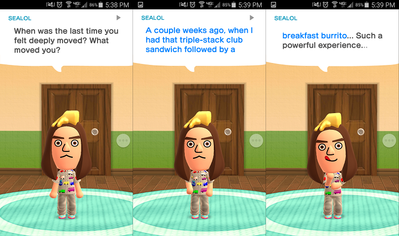 You can get pretty creative with Miitomo answers.