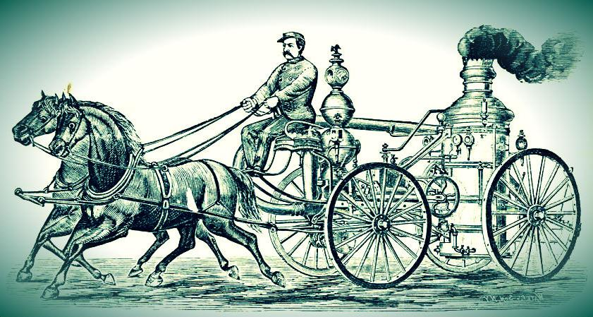 A horse pulls a smoking carriage, accompanied by a rider.