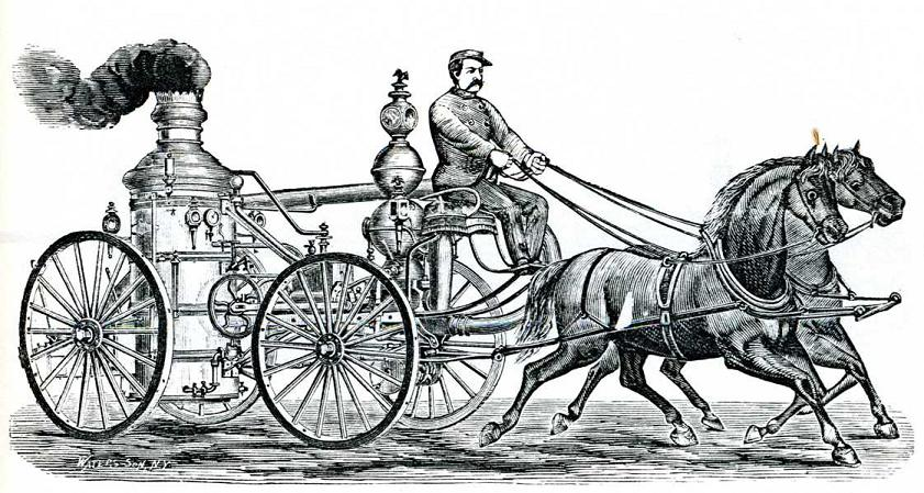 Two horses pull an wheeled engine spewing smoke, driven by a mustachioed driver.
