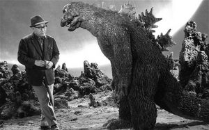 I had a different picture, but instead I couldn't resist this one with Godzilla getting instructions from director Ishirô Honda.