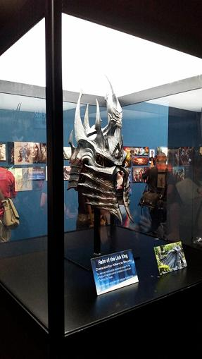 Props like the helm of the Lich King were on display at BlizzCon 2016.